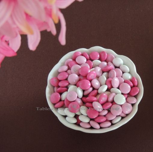 It's All About Me! – Tablescapes at Table Twenty-One: Pink & white M&Ms