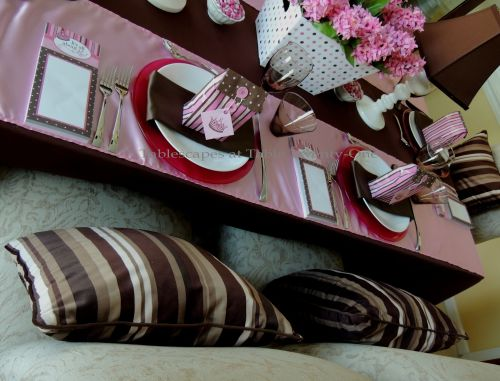 It's All About Me! – Tablescapes at Table Twenty-One: Double place setting in pink, brown & white