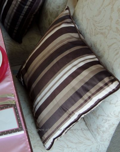It's All About Me! – Tablescapes at Table Twenty-One: Brown & white striped pillows