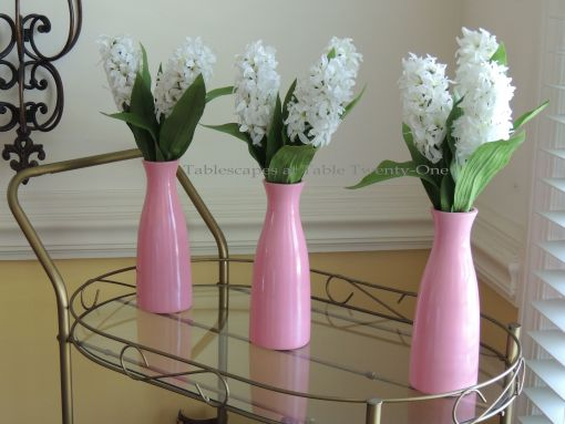 It's All About Me! – Tablescapes at Table Twenty-One: White hyacinth in pink vases on tea cart