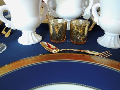 Tablescapes at Table Twenty-One – Lauren in the Library: gold mercury glass votive holders