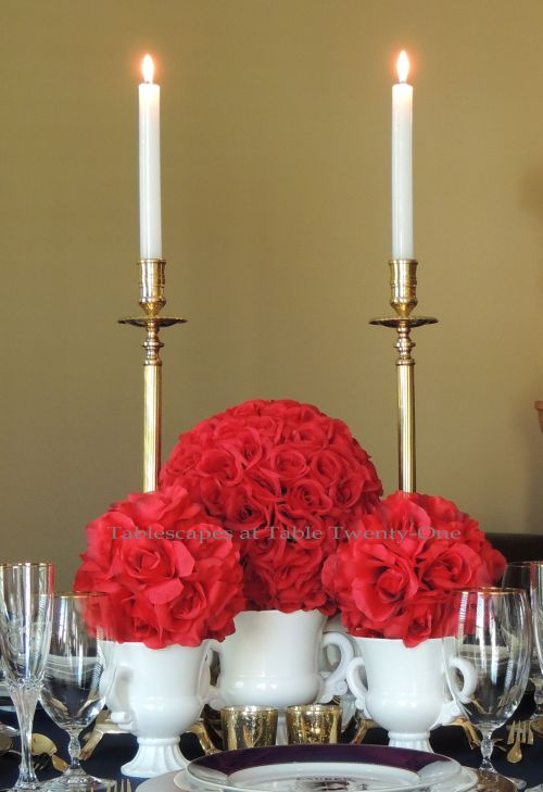 Tablescapes at Table Twenty-One – Lauren in the Library: Red rose ball centerpiece, front view