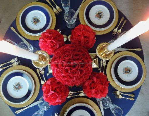 Tablescapes at Table Twenty-One – Lauren in the Library: Red rose ball centerpiece - overhead view
