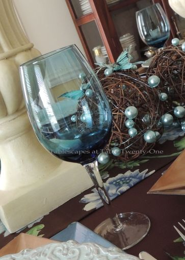 Tablescapes at Table Twenty-One: Float Like a Butterfly - Stemware