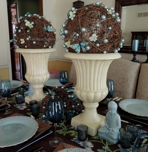"""Tablescapes at Table Twenty-One: Float Like a Butterfly - Grapevine balls wrapped with Oasis MEGA Beaded Wire in """"Ice Blue"""""""