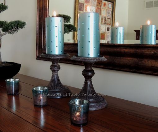 Tablescapes at Table Twenty-One: Float Like a Butterfly - Pillar candles with rhinestones from Z Gallerie