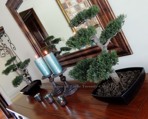 Tablescapes at Table Twenty-One: Float Like a Butterfly - buffet with bonsai trees