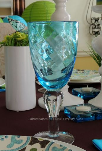 Tablescapes at Table Twenty-One - Butterfly Kaleidoscope: Turquoise stemware from Pier 1