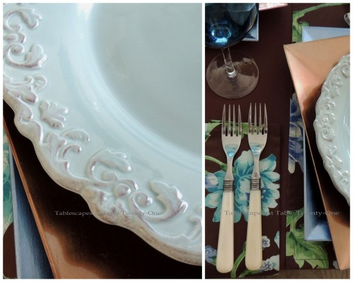 Tablescapes at Table Twenty-One: Float Like a Butterfly - Flatware, Rim Shot collage
