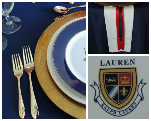 Tablescapes at Table Twenty-One – Lauren in the Library: Flatware, rim shot, Lauren emblem collage