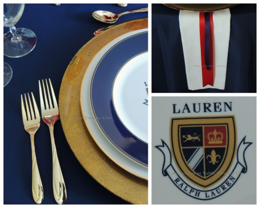 Tablescapes at Table Twenty-One – Lauren in the Library: Flatware, rim shot, Lauren emblem collage