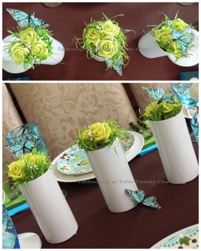 Tablescapes at Table Twenty-One - Butterfly Kaleidoscope: Floral trio collage
