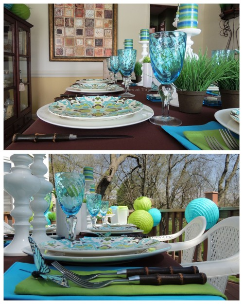 Tablescapes at Table Twenty-One - Butterfly Kaleidoscope: Multiple place setting in and out collage