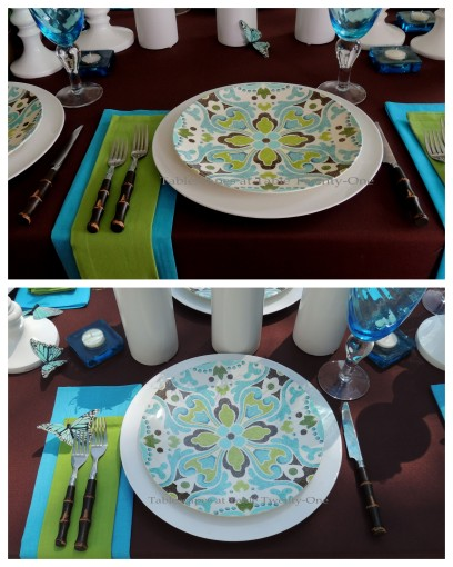 Tablescapes at Table Twenty-One - Butterfly Kaleidoscope: Single place setting in and out collage