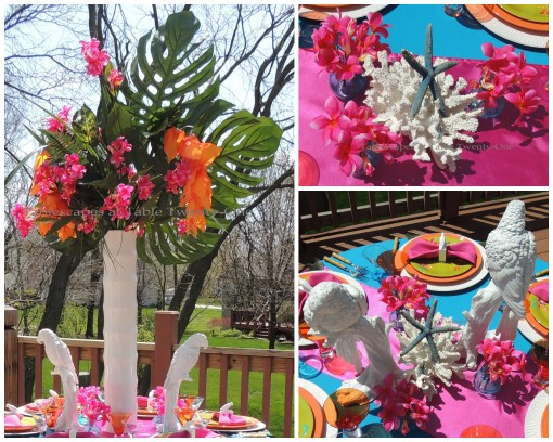 Tablescapes at Table Twenty-One: Three Tropical-themed Centerpieces collage