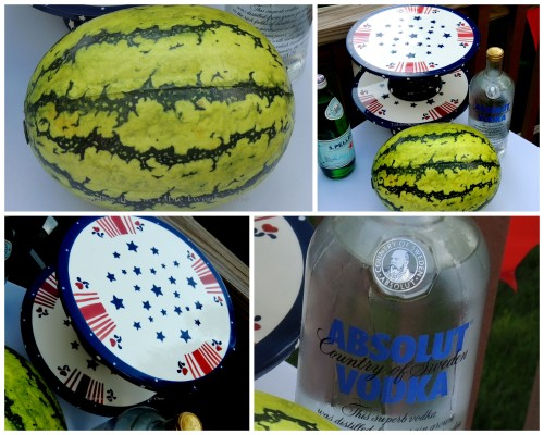 Cake plateaus, whole watermelon, Absolut collage