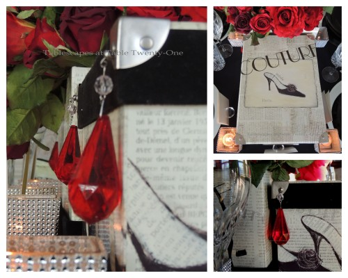 Tablescapes at Table Twenty-One – Diamonds Are a Material Girl's Best Friend: Red rose, hat box and bling centerpiece collage