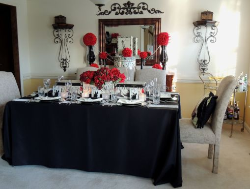 Tablescapes at Table Twenty-One – Diamonds Are a Material Girl's Best Friend: Full dining room in black & red