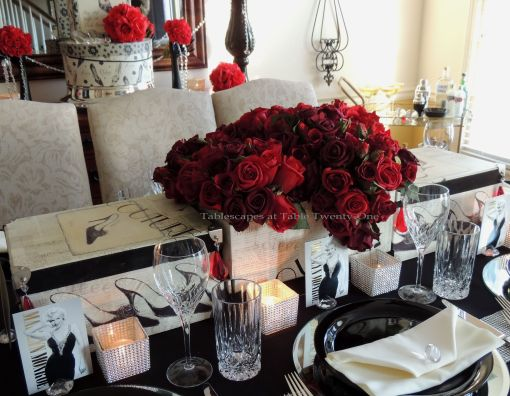 Tablescapes at Table Twenty-One – Diamonds Are a Material Girl's Best Friend: Red Roses in novelty hat boxes for centerpiece