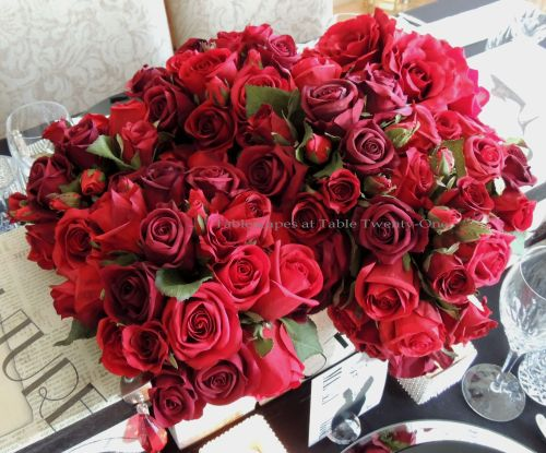 Tablescapes at Table Twenty-One – Diamonds Are a Material Girl's Best Friend: Roses in hat box centerpiece