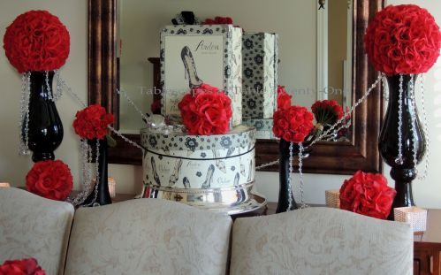 Tablescapes at Table Twenty-One – Diamonds Are a Material Girl's Best Friend: Buffet decor using red roses, hat boxes, and lots of bling