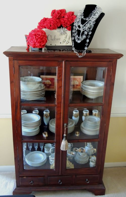 Tablescapes at Table Twenty-One – Diamonds Are a Material Girl's Best Friend: China cabinet