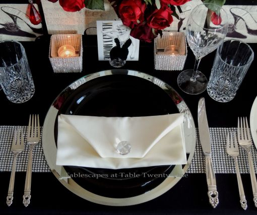 Tablescapes at Table Twenty-One – Diamonds Are a Material Girl's Best Friend: single place setting