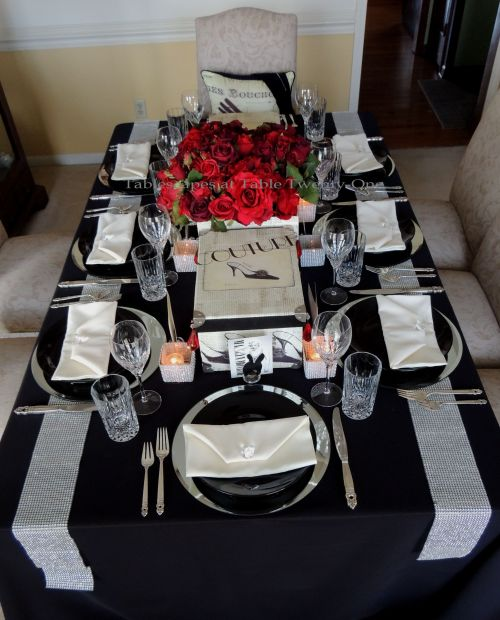 Tablescapes at Table Twenty-One – Diamonds Are a Material Girl's Best Friend: Full table