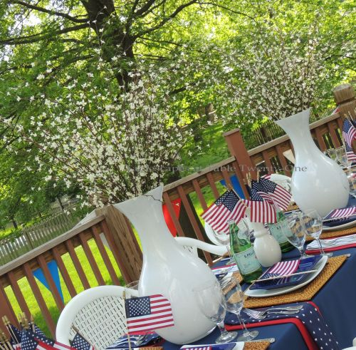 Patriotic floral centerpiece - Stars & Stripes, Tablescapes at Table Twenty-One