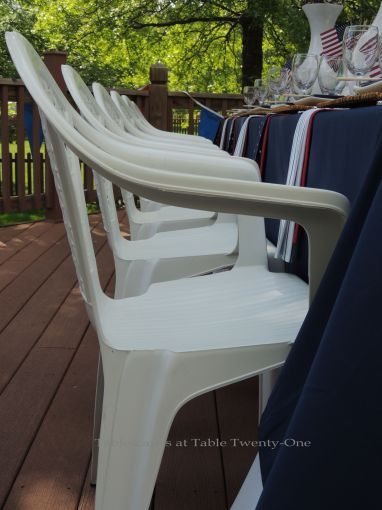 White resin bistro chairs - Stars & Stripes, Tablescapes at Table Twenty-One