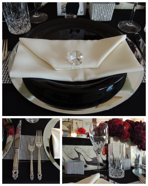 Tablescapes at Table Twenty-One – Diamonds Are a Material Girl's Best Friend: Flatware, Napkin, Stemware collage