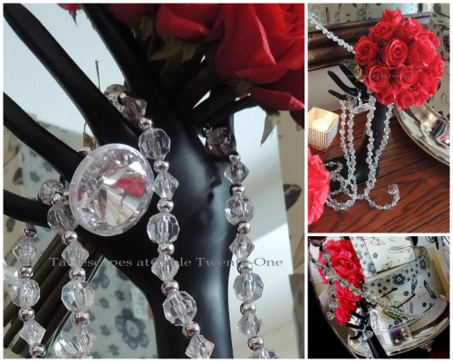 Tablescapes at Table Twenty-One – Diamonds Are a Material Girl's Best Friend: Hand jewelry holder, bling, rose bouquet collage