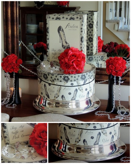 Tablescapes at Table Twenty-One – Diamonds Are a Material Girl's Best Friend: Hat box, cake plateau, bling collage