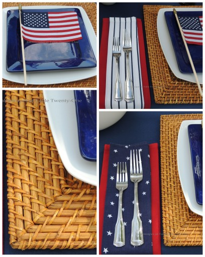 Napkins & flatware, rim shot, flag on plate collage