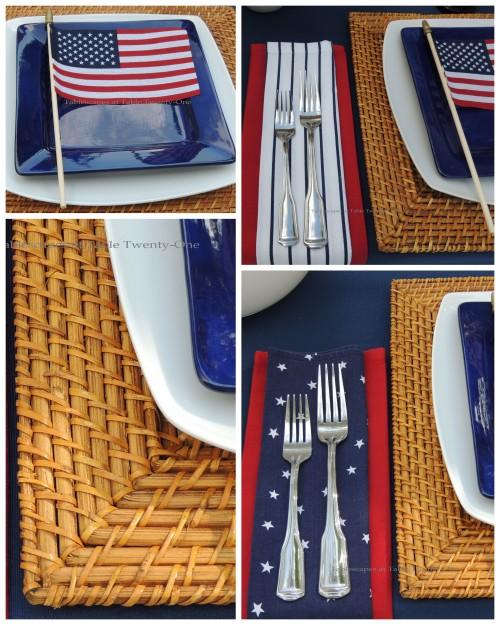 Napkins & flatware, rim shot, flag on plate collage