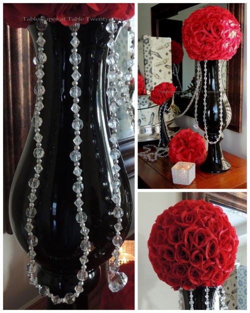 Tablescapes at Table Twenty-One – Diamonds Are a Material Girl's Best Friend: Sleek black vase topped with rose ball, bling collage