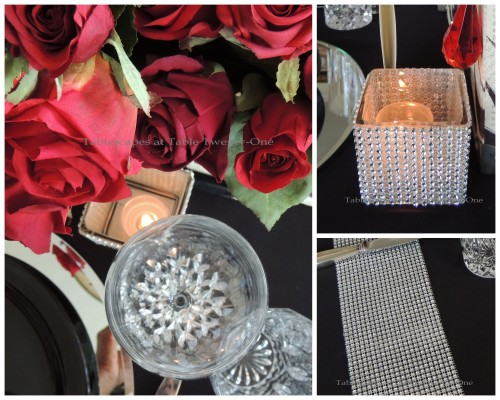 Tablescapes at Table Twenty-One – Diamonds Are a Material Girl's Best Friend: Votive and bling runner collage