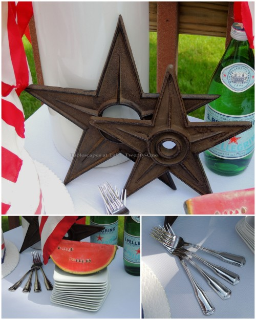 Watermelon slice, stacked plates, forks, iron stars collage