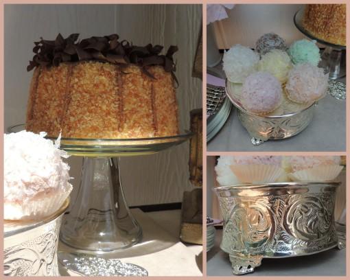Patisserie de Paris - Tablescapes at Table Twenty-One - Cake, coconut balls, cake plateau collage