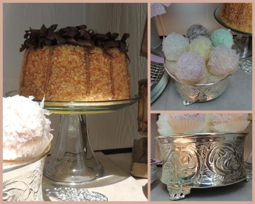 Patisserie de Paris - Tablescapes at Table Twenty-One - Cake, coconut balls, cake plateau collage