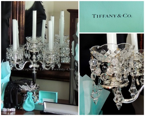 Tablescapes at Table Twenty-One - Breakfast at Tiffany's - Candelabra, bobeche, Tiffany logo collage