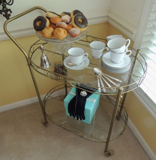 Tablescapes at Table Twenty-One - Breakfast at Tiffany's tea cart