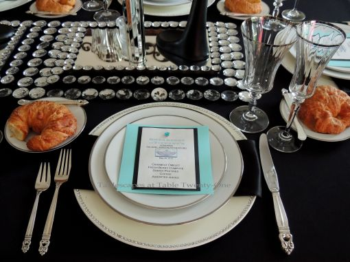 Tablescapes at Table Twenty-One - Breakfast at Tiffany's place setting