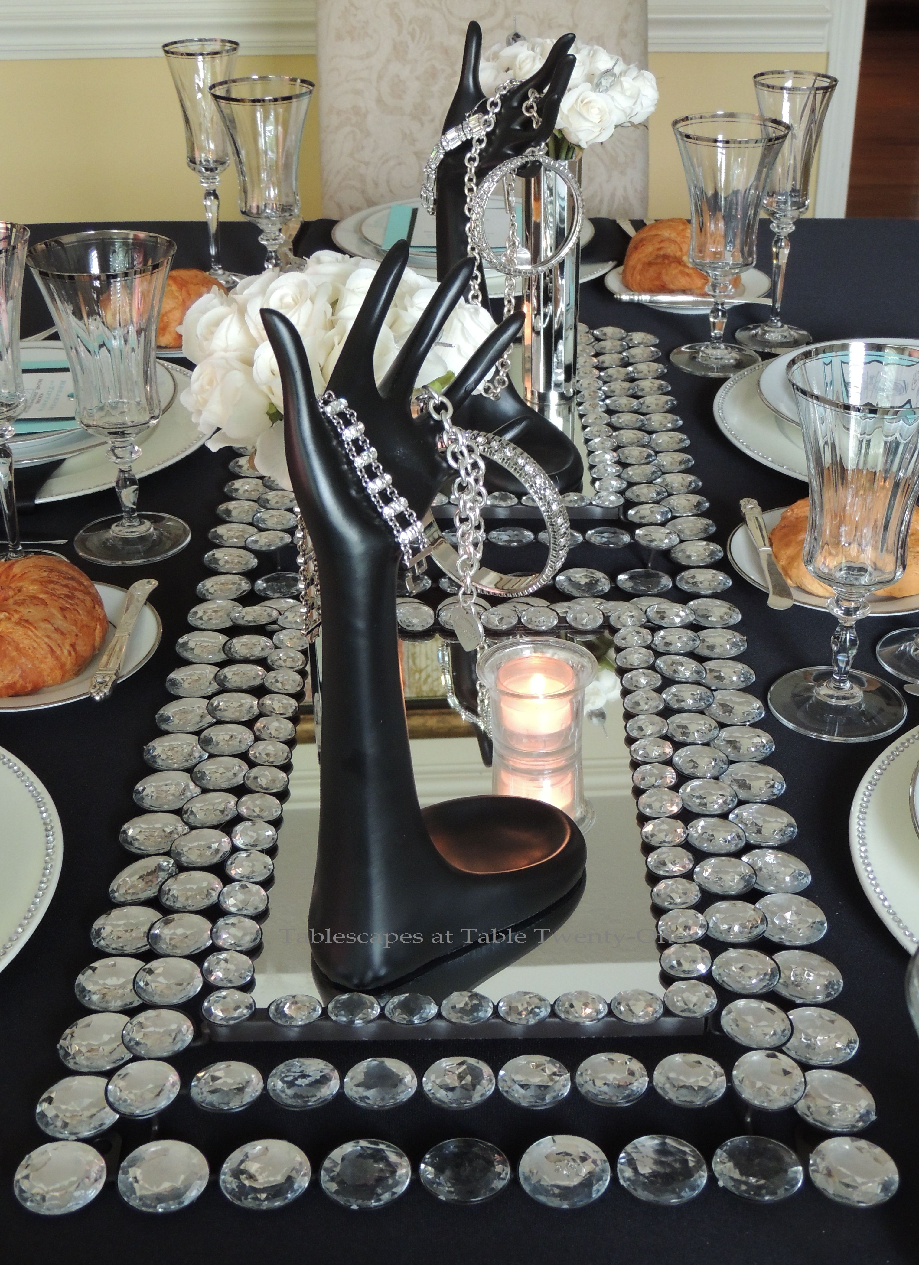 Tablescapes at table twenty one breakfast at tiffany s for Breakfast table centerpiece