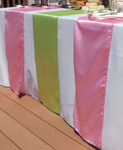 Patisserie de Paris - Tablescapes at Table Twenty-One - Pink & green table runners from LinenTablecloth.com