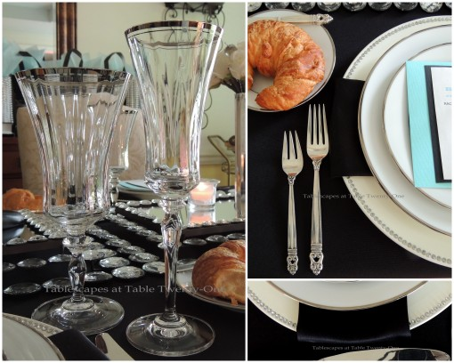 Tablescapes at Table Twenty-One - Breakfast at Tiffany's - Flatware, napkin, rim shot, stemware collage