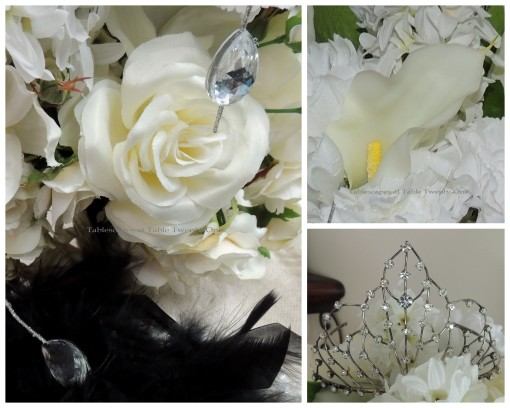 Tablescapes at Table Twenty-One - Breakfast at Tiffany's - Floral head bling, tiara collage
