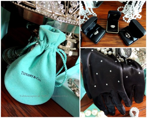 The buffet behind the dining table holds the goodie bags and displays fun things from Tiffany's that Holly might wear including a fabulous tiara, black shades, pearls, and those famous opera gloves - Rings, gloves, Tiffany pouch collage