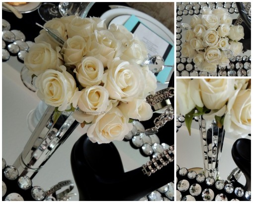 Tablescapes at Table Twenty-One - Breakfast at Tiffany's - Roses, mirrored vase collage