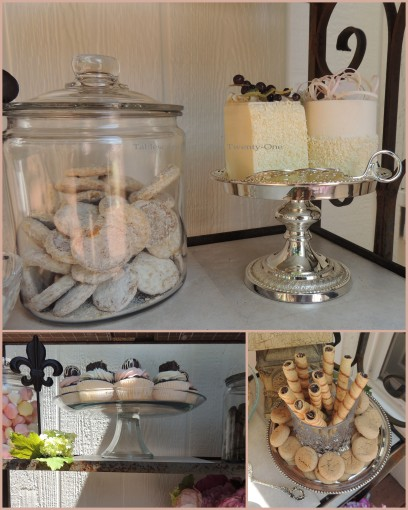 Patisserie de Paris - Tablescapes at Table Twenty-One - Small cakes, Pirouette cookies, cupcake collage